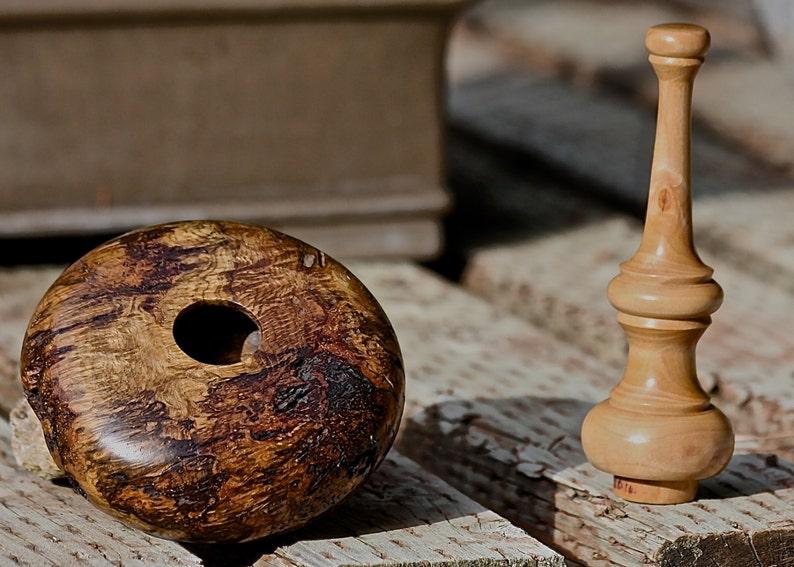 Black Oak Burl hand turned vessel with Dogwood lid