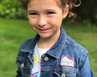 Empowered Girl Vintage Upcycled Jean Jacket Embroidered