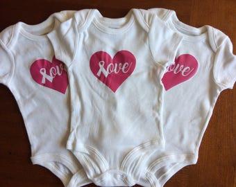 Pink Ribbon Love Onesies 0-3 months