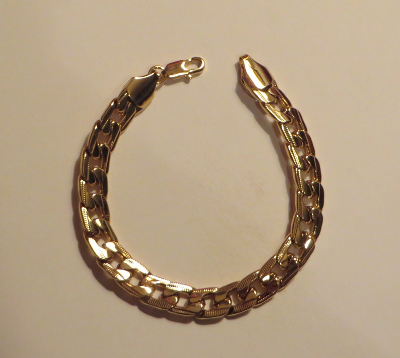 18k Gold Bracelet For Mens Jewellery Jewelry Chain Filled Link image 0