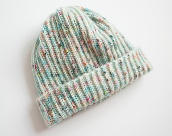 Blue Fuzzy Beanie / Confetti Color Winter Hat - Ready to Ship