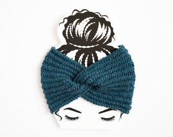 Teal Dark Blue Wool Twisted Ear Warmer - Ready to Ship