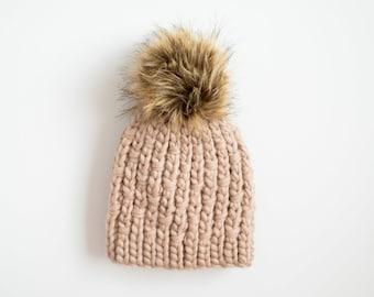 Knit Look Beige Beanie / Winter Pom Pom Hat - Ready to Ship