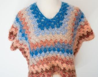 Pink Blue Stripe Fuzzy Top / Summer Fuzzy Tank Tee