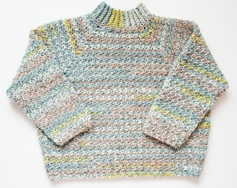 Blue Striped Cropped Sweater / Variegated Turtleneck Pullover - Ready to Ship