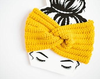 Yellow Twist Ear Warmer / Twisted Golden Headband - Ready to Ship