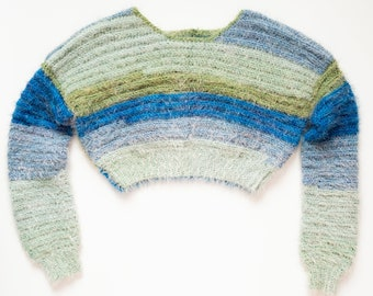 Blue Green Striped Cropped Fuzzy Sweater - Ready to Ship