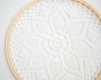 White Crochet Mandala Wall Hanging / Lace Hoop Wall Decor - Ready to Ship