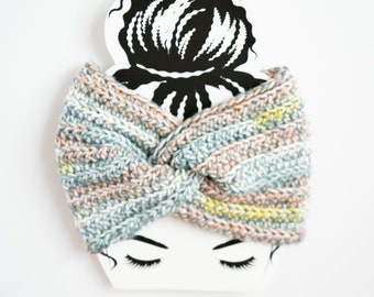 Blue Striped Twisted Ear Warmer / Knotted White Yellow Blue Headband - Ready to Ship