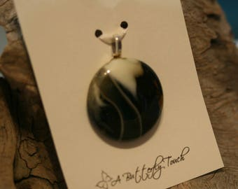 Understated Fused Glass Puddle Pendant