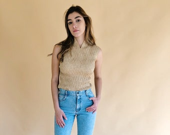 90s Muted Gold Textured Stretch Tank Size XX-Small X-Small Small