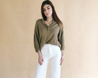 60s/70s Angora Blend Henley Sweater