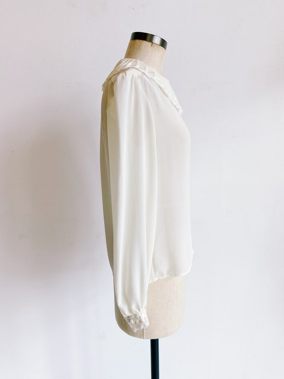 70s 80s Sheer Ivory Blouse with Pleated Oversized… - image 6