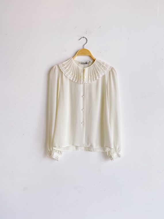 70s 80s Sheer Ivory Blouse with Pleated Oversized… - image 1