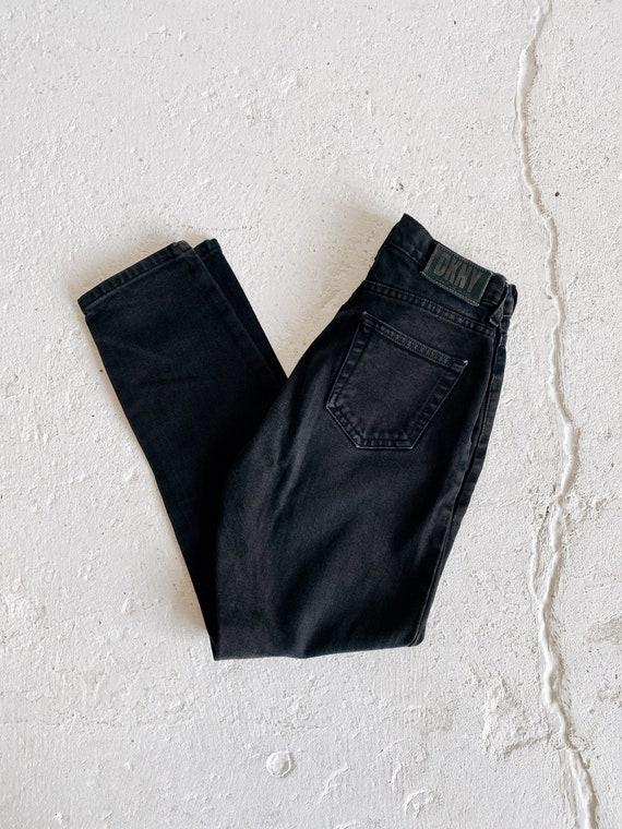 90s DKNY Jeans Black Mid Rise Slim Leg Jeans Size