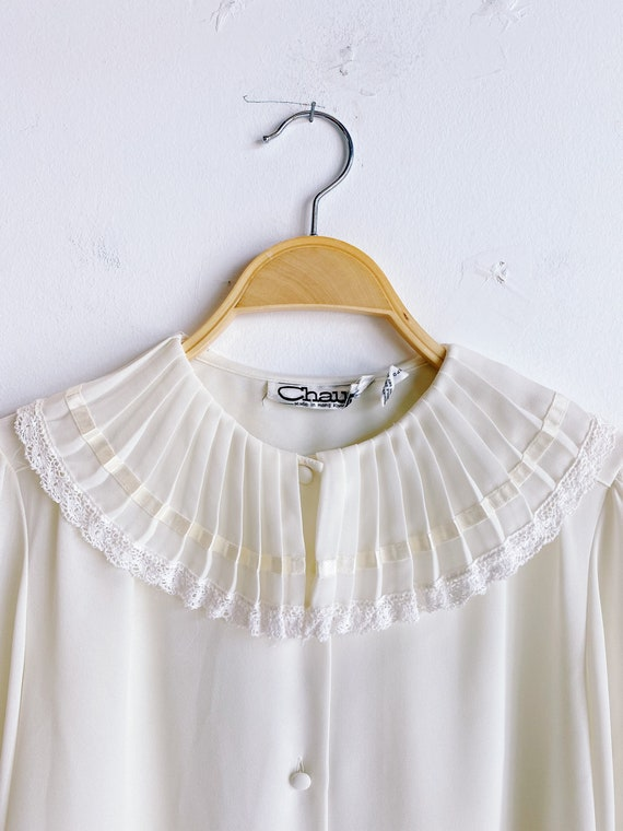 70s 80s Sheer Ivory Blouse with Pleated Oversized… - image 3