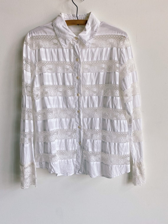 Y2K White Lace Panel Blouse Size XS Small Medium