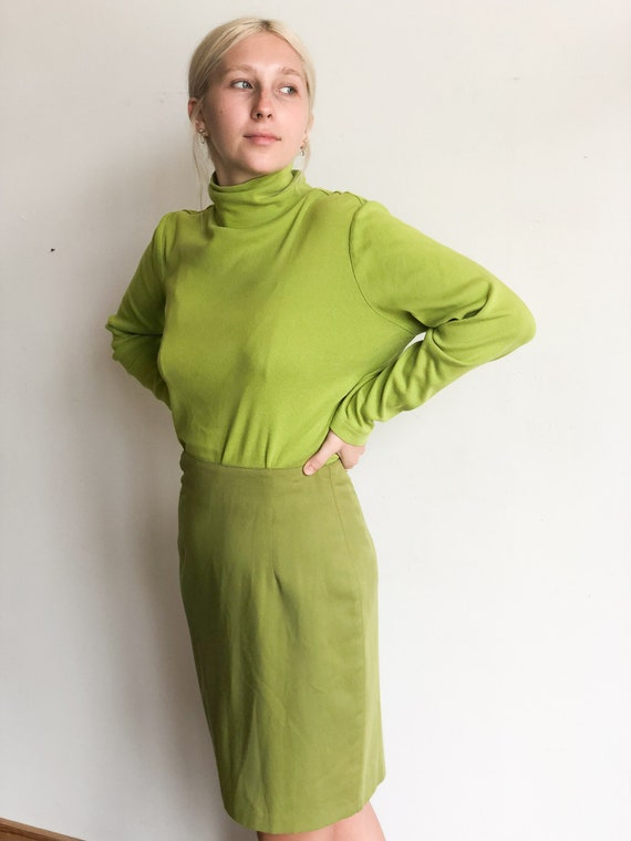 Bright Green Long Sleeve Turtleneck Shirt