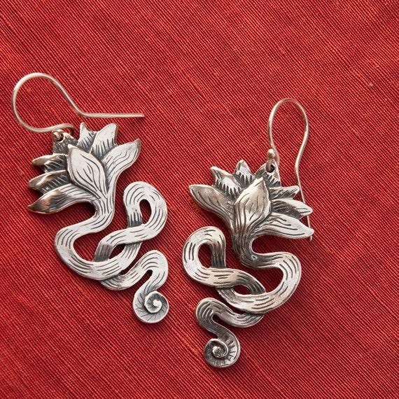 Lotus Earrings Long Sterling Silver Drop Earrings