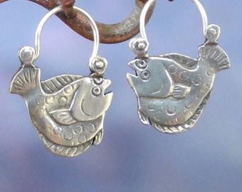 Flounder  Earrings - sterling silver - Flat Fish