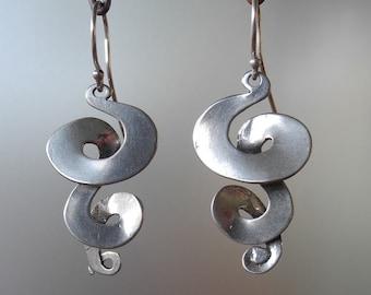 Triple Curl drop Earrings - sterling silver