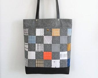 Stella tote bag, bag pattern, tote bag, instant download, pdf pattern, patchwork pocket, zipper closure tote, sewing, handbag, tutorial, bag