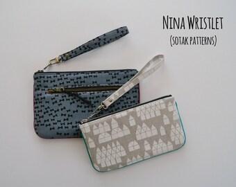 pdf pattern, instant download, pouch pattern, wristlet, wallet, two sizes, Nina Wristlet, clutch, bag pattern, zipper, diy, wrist strap, sew