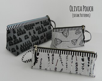 diy, pouch pattern, zipper pouch, pdf pattern, instant download, three sizes, dopp kit, toiletry bag, make up, pencil, bag, Olivia pouch