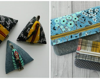 SPECIAL BUNDLE ~ Foldover Pouch  + Little Pyramid Pouch {PDF sewing pattern}
