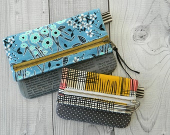 Foldover Zipper Pouch {PDF sewing pattern} instant download, sew, two sizes, coin pouch, clutch, sotak patterns, foldover, zipper pouch