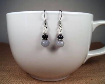 Silver Angelite Sandstone Gemstone Statement Dangle Earrings