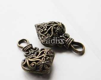 4pcs / Heart / Antique Brass / Base Metal / Charm / 30x19mm (YB15391//B342)