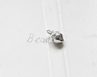 2 Pieces / Acorn / Silver Plated / Real Silver / Brass Base / Charm (C361/G830)