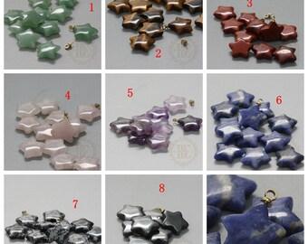 2 Pieces / Star / Half Hole / Glue on / Charm / Semiprecious Stone (G97)