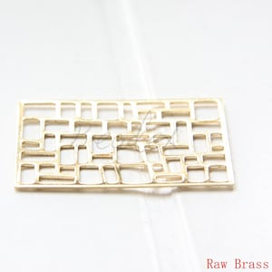 10 Pieces Raw Brass Filigree Rectangle Link 3074C 45.5x23.5mm