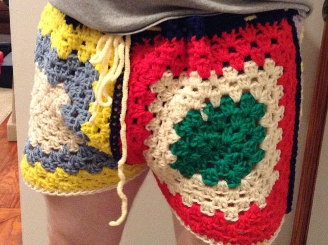 The Brandon Mens Shorts Crochet Granny Style Adjustable Etsy