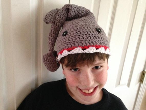 Pattern Shark Hat Child Teen Adult Sizes Crochet Beginner Easy Etsy