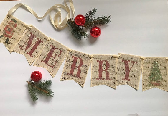 BE MERRY Christmas sheet music book page banner bunting holiday decoration garland