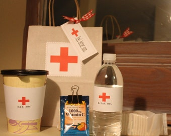 Printable Get Well Kit, Instant Download, TLC, Feel Better, Sorry You're Sick Kit, Red Cross, Friendship, Hospital, Doctor, Flu, Surgery,