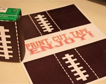 Football Printable Juice Wraps