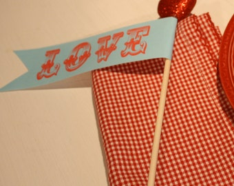 Blue and Red Valentine Flags set of 4
