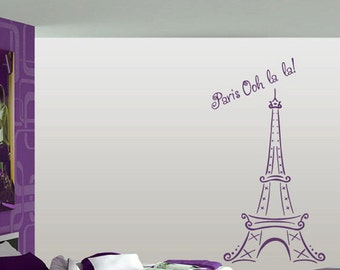 FREE SHIPPING Paris Ooh La La Tour Eiffel Tower Wall Decal Custom Size and Color