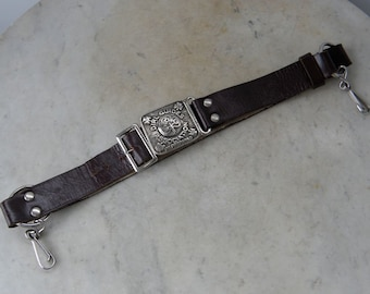 GIRL GUIDE BELT Official Uniform G G Association Be Prepared English Girl Scouts Vintage Leather with Official Bukta Buckle Mid 1900's