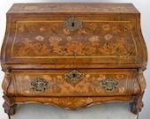 PICK UP ONLY Dutch Marquetry Desk Inlay Drop Front Secretary Bureau Commode Secretaire Inlay Walnut Bombé Serpentine Bureau Inlay Birds 1790