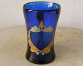 1700 s GLASS CIDER MUG Cup Glass Cobalt Blue Hand Blown Painted Gold Blue Red Center Crest Rare Antique American Glass 18th Century