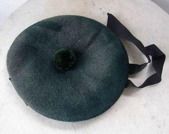 7c1699c60e3 TAM-O-SHANTER Scottish Cap Hat Tam O Shanter Gray Wool + Green Pom Pom  Quilted Silk Lining Bow 2 Ribbons Robert Burns Scotland Boy s Sm Size