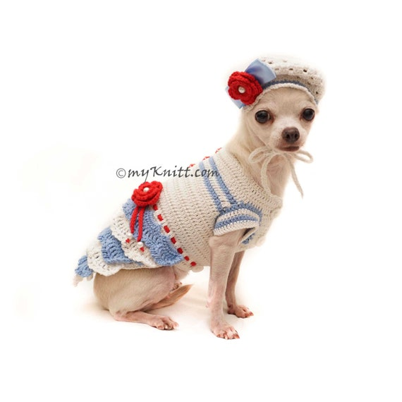 Hund Kleid Mit Hund Hut Gestrickt Chihuahua Hund Hut Häkeln Etsy