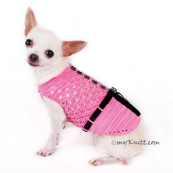 Rosa perro vestido con cinta negra ropa del perro de   Etsy