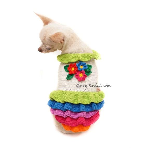 Hund Kleid Häkeln Regenbogen Bunten Hund Kleid Blume Etsy