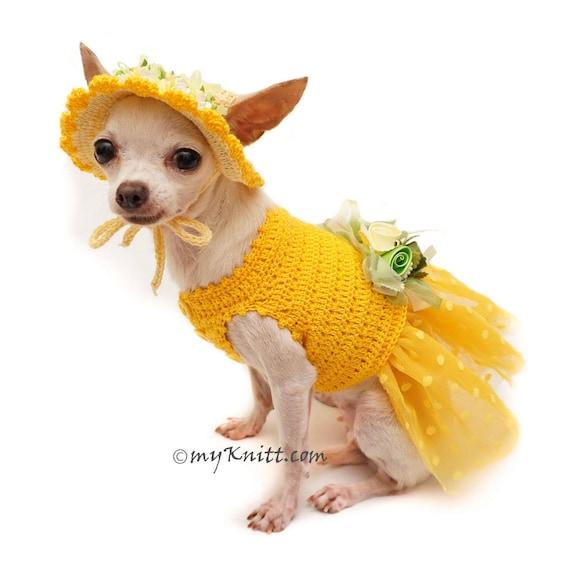 Gelber Hund Tutu Kleid mit Sonnenhut Yellow Polka dot   Etsy